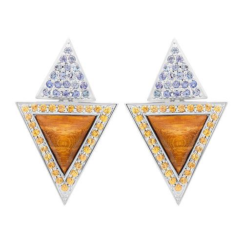 Triangulum Earrings / Tanzanite & Yellow Sapphire