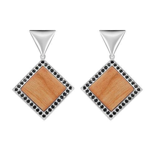 Quadratum Triangulum Earrings / Black Spinel and Cherry Wood