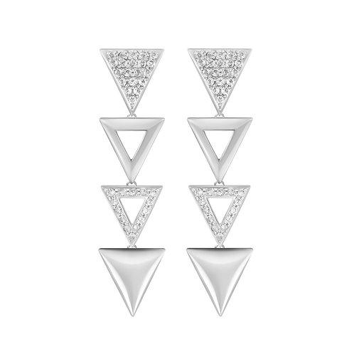Triangulum Long Earrings / White zircon