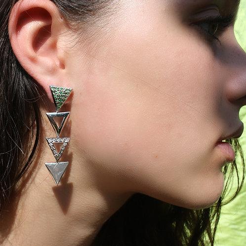 Triangulum Long Earrings / White zircon and Tsavorite