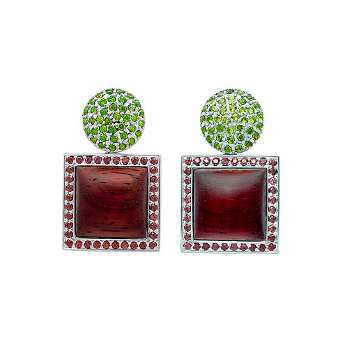 Whirl Quadratum Earrings Tsavorite & Red Garnet