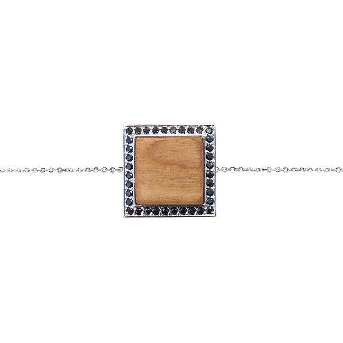 Quadratum Bracelet Black Spinnel and Cherry Wood