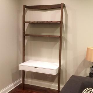 Ladder Bookcase and Desk Built-In