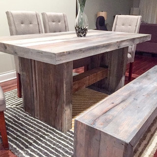 Cool Grey Oversized Farmhouse Dining Table and Bench