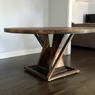 Round Reclimed Wood Dining Table