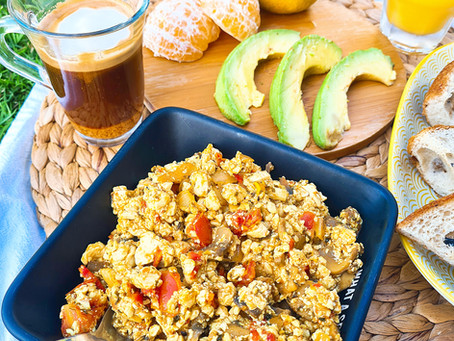 Tofu Scramble- Silken Tofu, Mushrooms & Tomatoes