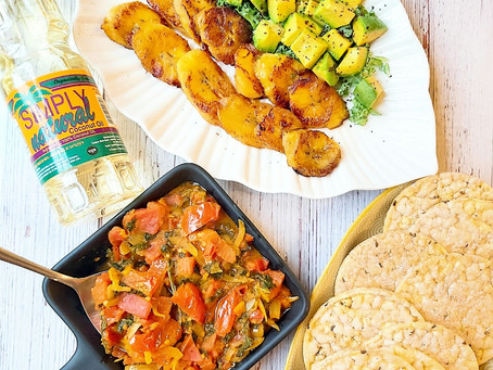 Tomato & Kale Choka with Grilled Plantain