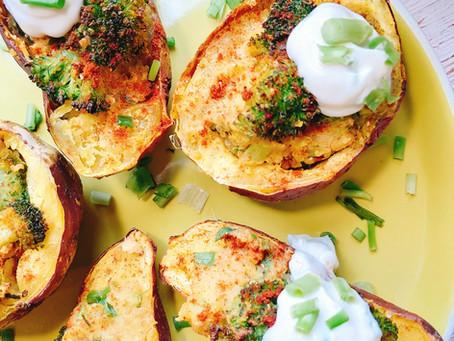 Broccoli & Quinoa Stuffed Sweet Potatoes
