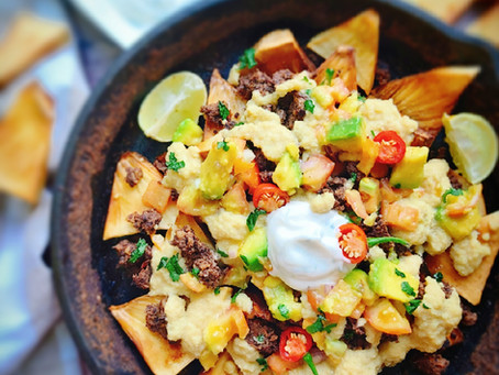 Fully Loaded Breadfruit Nachos- With Mushroom Walnut Taco 'Meat' & Cauliflower Cheese Sauce