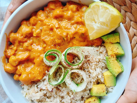 Coconut Squash Chickpea Stew- With Lemon- Parsley Bwon Rice