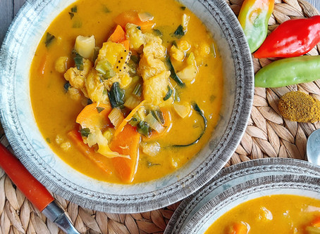 Curried Cauliflower Soup- With Plantain, Patchoi & Carrots