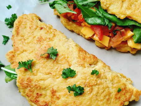 Vegan Omelette- Fluffy Tasty & Filled With Tomatoes & Arugula