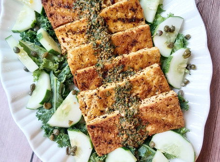 Crispy Tangy Tofu- Caper & Parsley Marinated Tofu