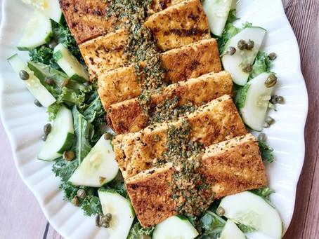 Crispy Tangy Tofu- Caper & Parsley Marinated Tofu