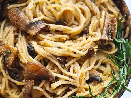 Lemon- Rosemary Mushroom Pasta- Vegan