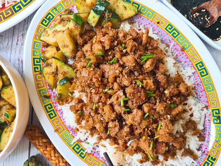 "Vegan Sesame-Ginger ""beef""- with ginger rice & stir fried christophene"