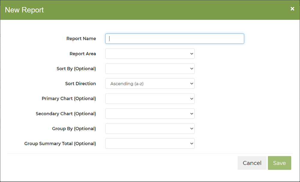 "Farmbrite's ""New Report"" dialog box"