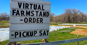 Sign advertises a virtual farmstand