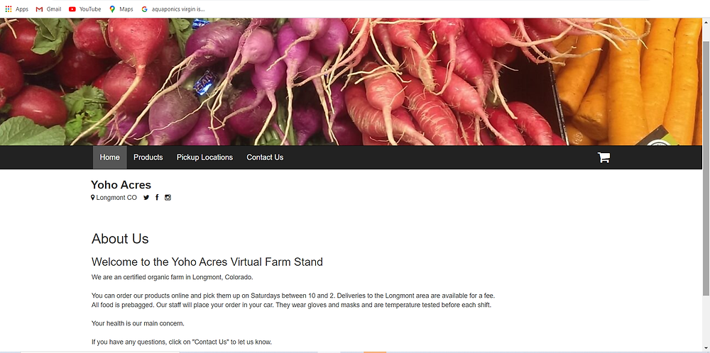 Screenshot of a virtual farm stand website