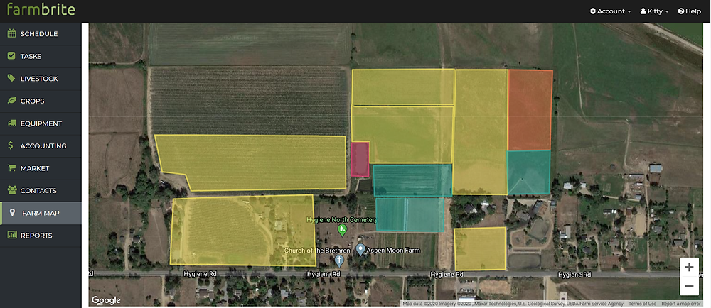 Farmbrite's mapping feature shows an aerial view of each farm and ranch