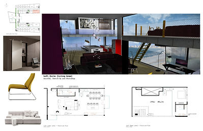 3D digial rendered model with floor plan and furniture presentation