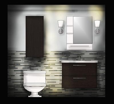 2D digital rendered bathroom elevation