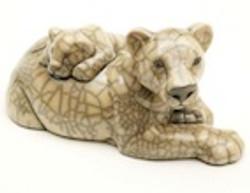 raku pottery lioness and cub