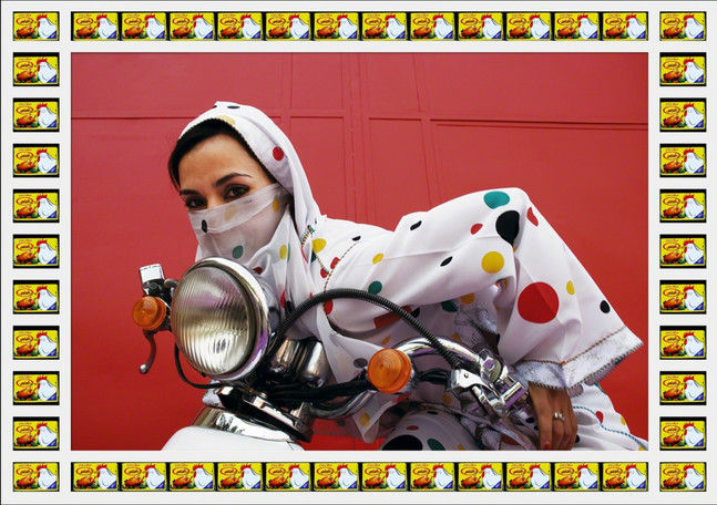 Hassan Hajjaj, Rider, 2010, metallic lambda print, wooden frame with knor stock packaging  © Hassan Hajjaj & Handpick, courtesy JP Aka