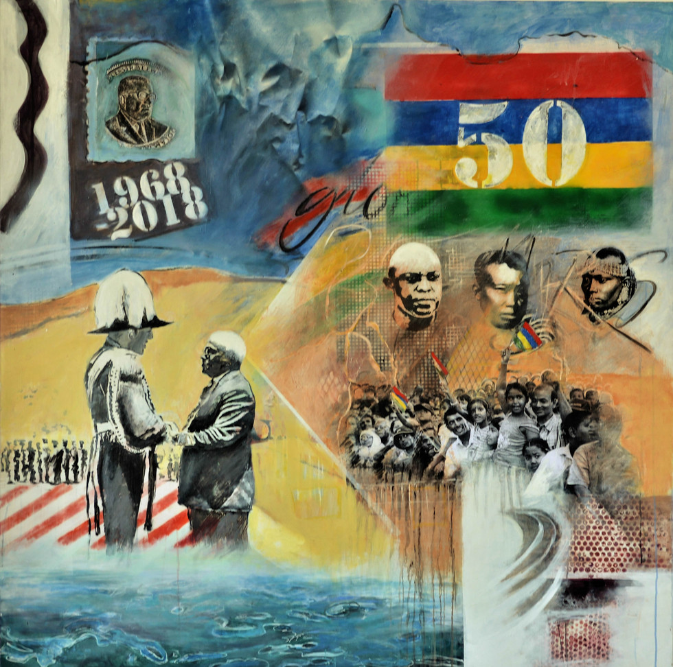 Pierre Argo, 50 ans, 2017, mixed media sur toile 150 x150 cm, Mairie du 6e, Paris