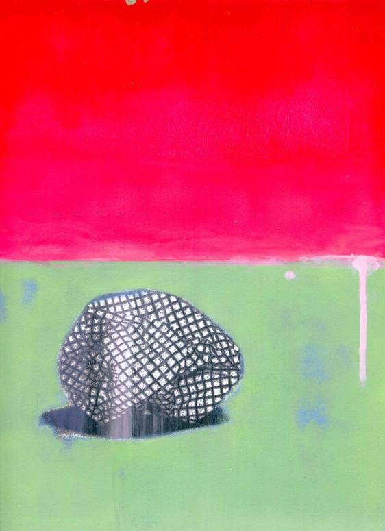 Christian Huvet, Sans titre, 2019, sérigraphie et acrylique, 2019