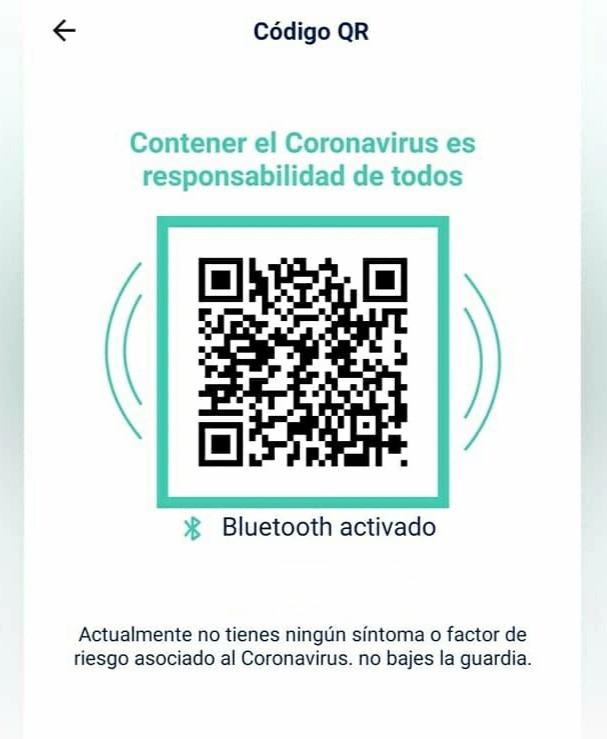 Código QR en verde CoronApp - Colombia