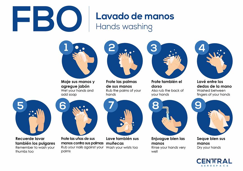 Lavado de manos en 9 pasos FBO Central Aerospace