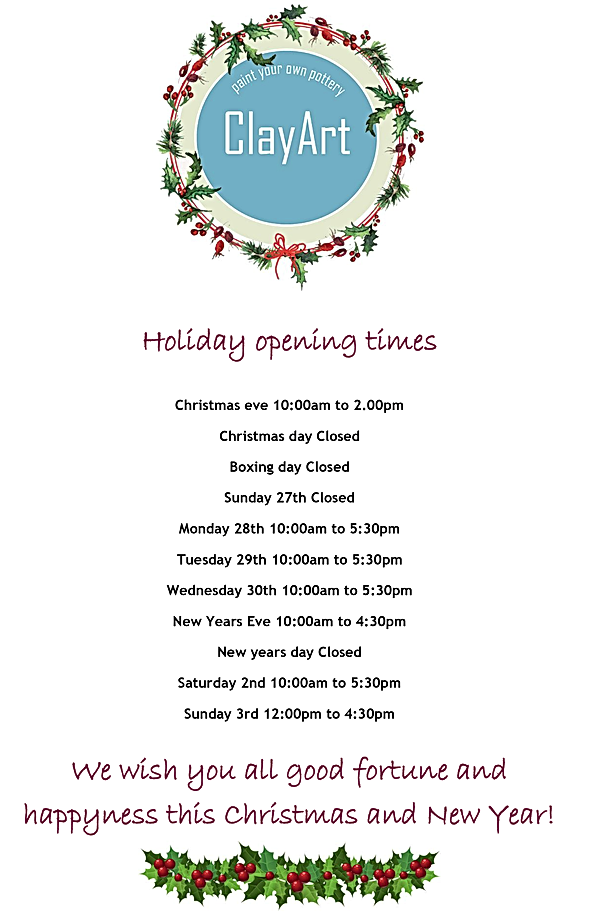 Cristmas opening times.bmp