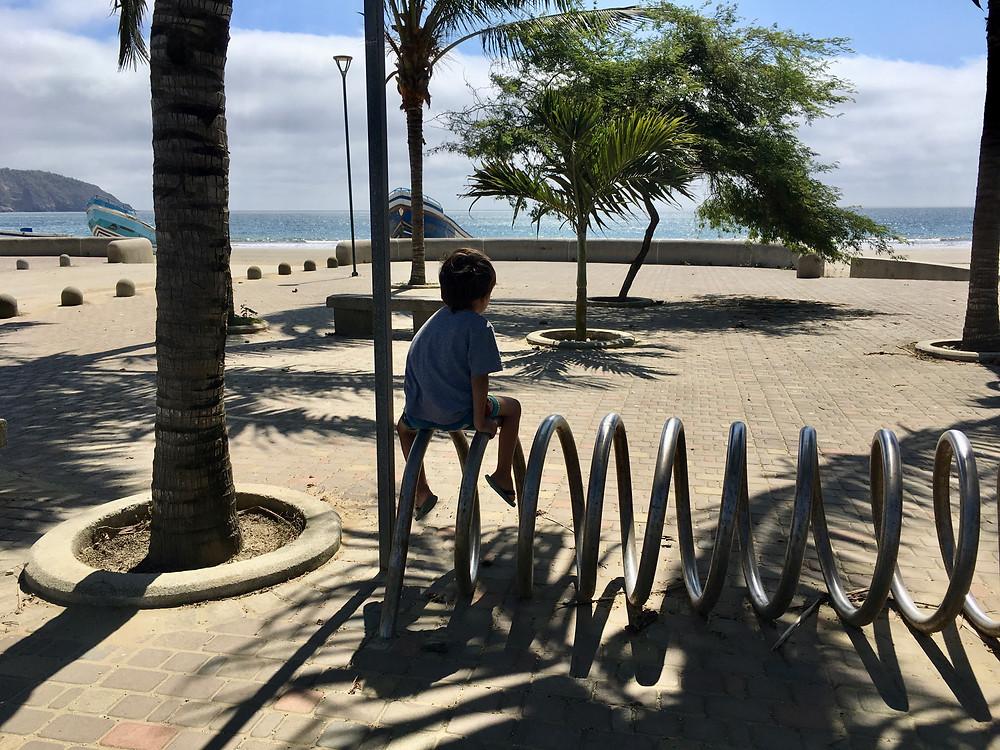 Emilio grimpe dès qu'il en a la possibilité, à Puerto Lopez