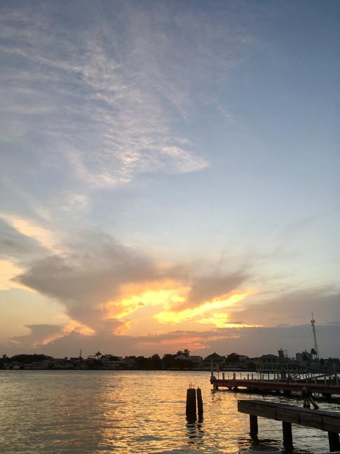 Coucher de soleil sur Belize City
