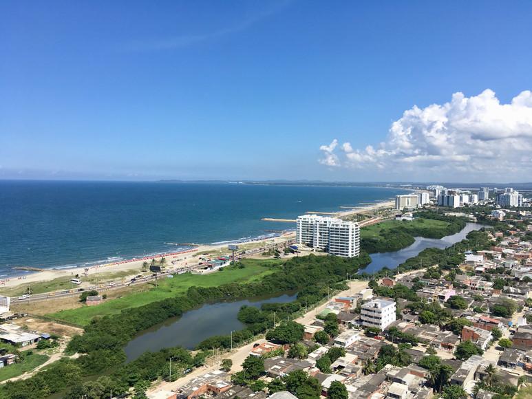 La vue sur la mer des caraibes à Cartagena