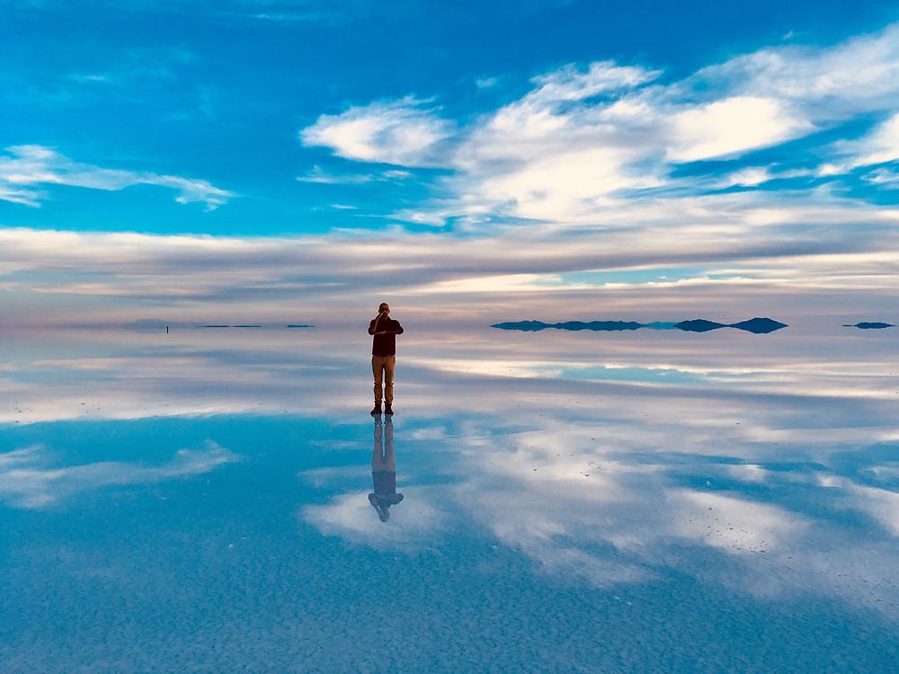 Andres au Salar d'Uyuni, encore en partie inondé