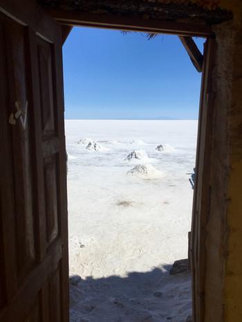 Vue sur les récoltes de sel