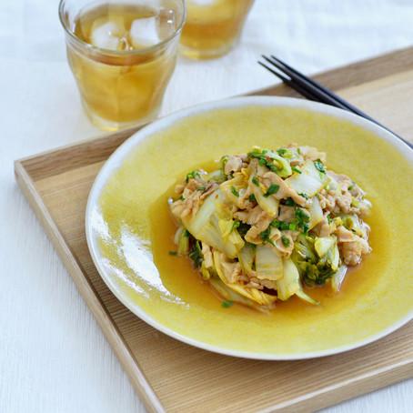 豚バラ白菜のピリ辛酢炒め
