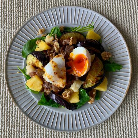 ラム肉と米ナスのパワーサラダ