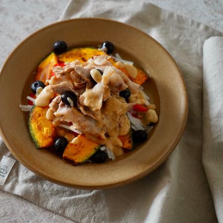 豚肉と栗マロンかぼちゃのパワーサラダ