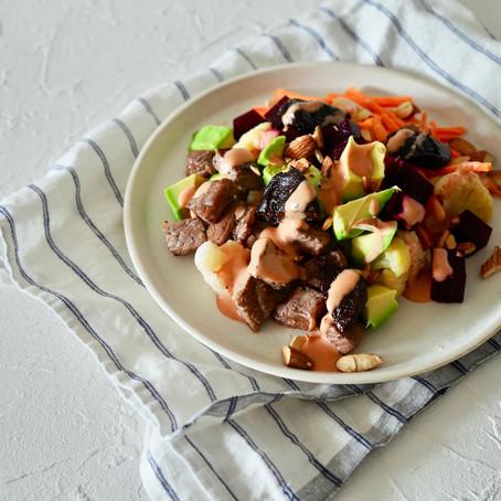 カリフラワーと牛肉のパワーサラダ