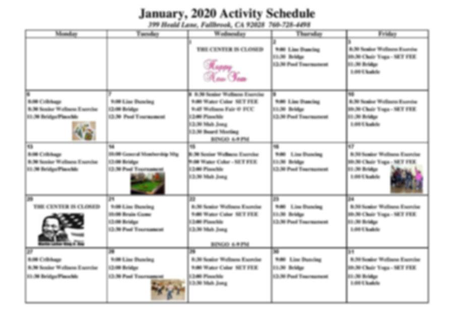 2020.01 January 2020 Activity Calendar -