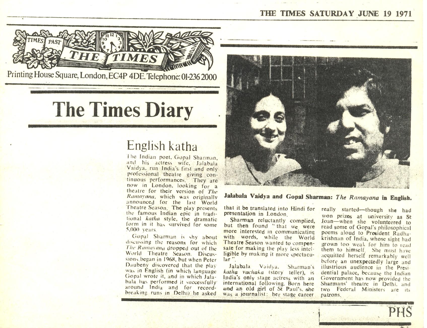English Katha- The Times 19June1971