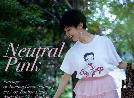Neutral Pink earrings. ニュアンスピンク・イヤリング。/ YURIKALAMODE vo.13