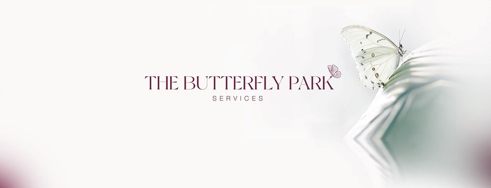 """plain background, burgundy words """"the butterfly park services""""  white butterfly landing on leaf"""