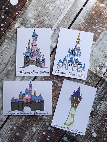 Disney Castle inspired postcard prints