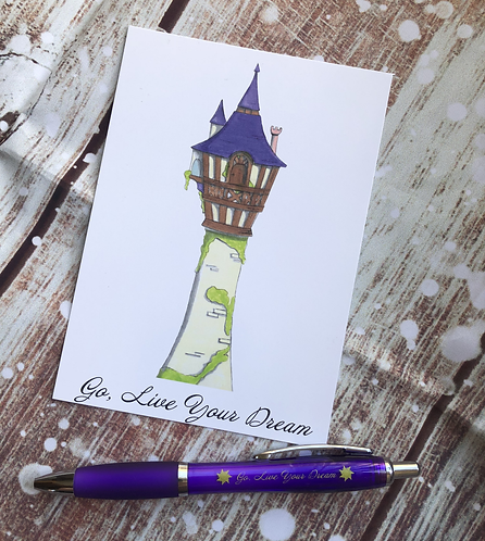 Tower postcard prints and Tangled inspired pen