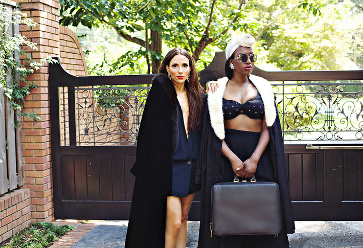 1970s count romi all-weather trench coat + 1950s white mink fur collar // 1980s gianfranco ferre pebbled black leather carry-on travel briefcase // 1980s baja blue black pearl studded bikini, available in shop. price upon request.