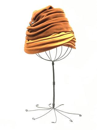 1940s orange velvet turban hat